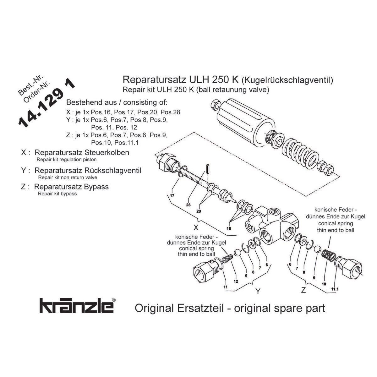 141291 - Repair Kit Regulation Piston with Ball +amp Spring