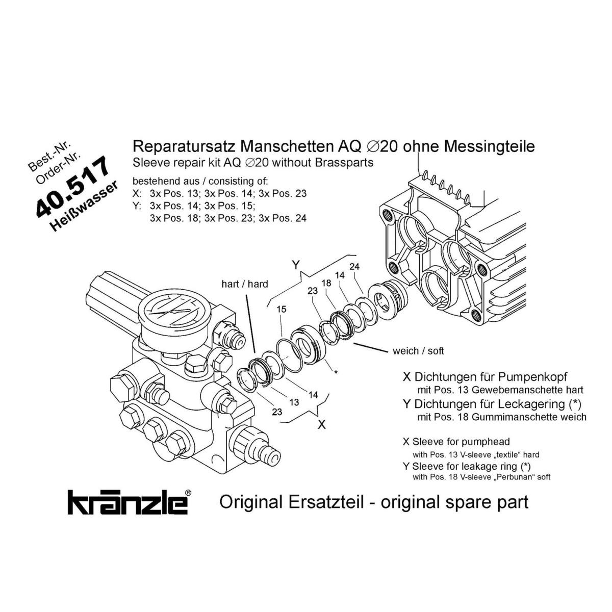 40517 - Repair Kit Water Seals for AQ Pump 20mm
