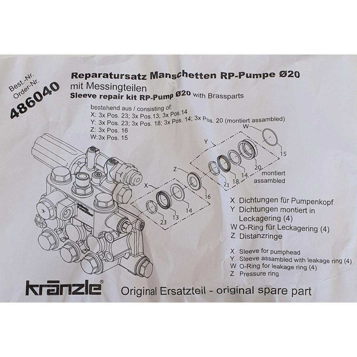 486040 - Repair Kit Water Seals for RP Pump 20mm