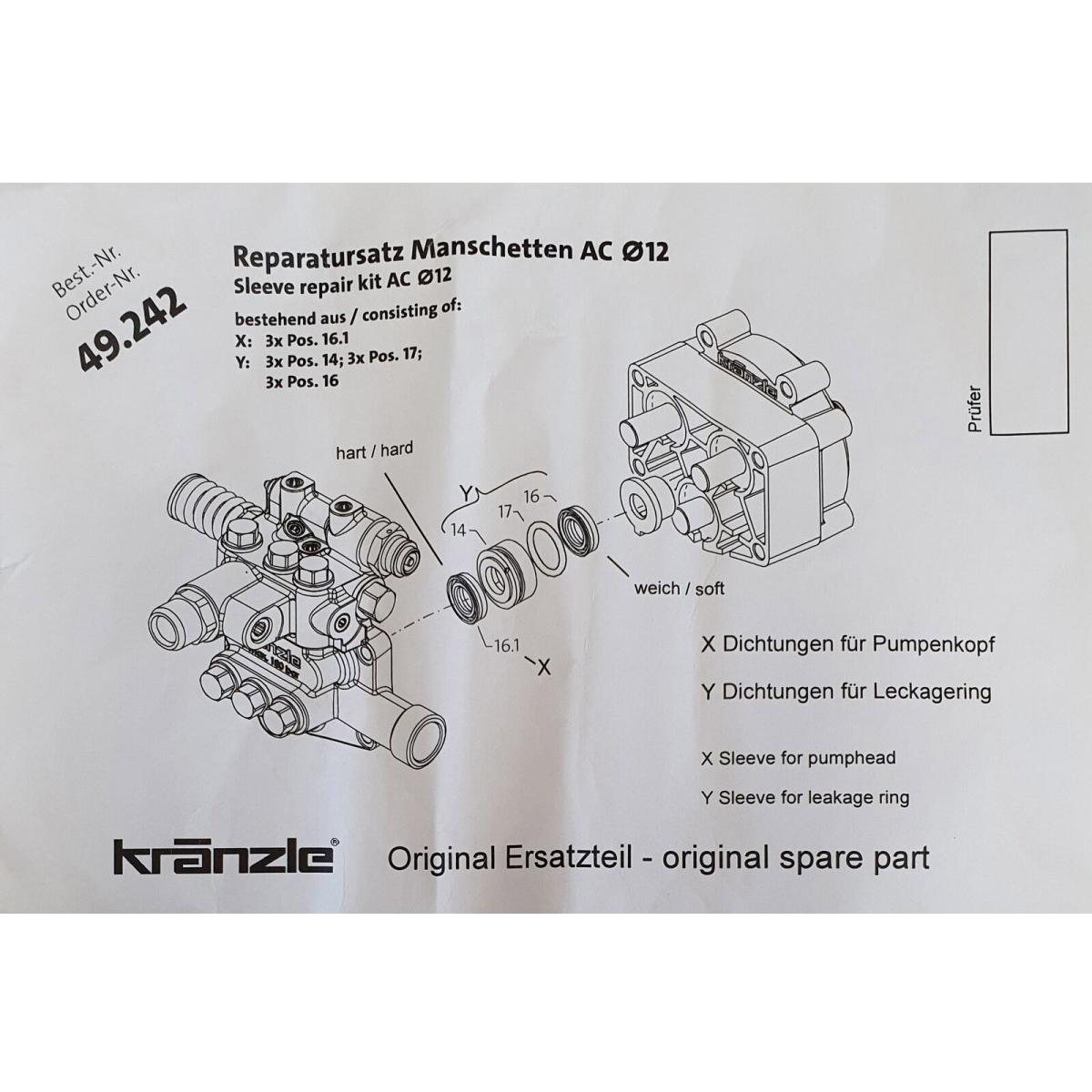 49242  Repair Kit Water Seals 1200