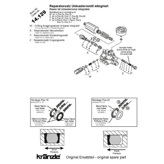 14129 - Repair Kit Regulation Piston with Shuttle +amp Spring