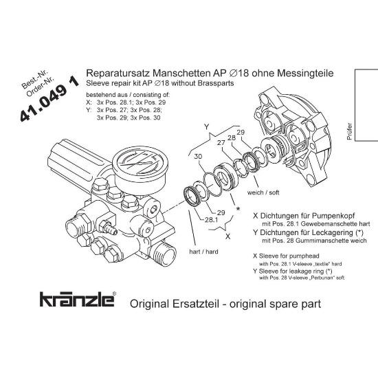 410491 - Repair Kit Water Seals for APG-AM Pump 18mm