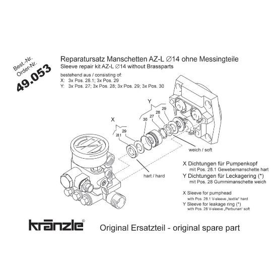 49053 - Repair Kit Water Seals AZ-L Pump 14mm